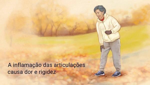 """Reumatologista em Curitiba: A imagem mostra uma mulher idosa, levando uma das mãos ao joelho com expressão de dor e incômodo, ao lado dela se encontram os dizeres """"A Inflamação das articulações causa dor e rigidez""""."""